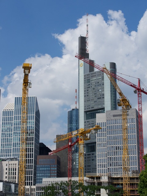 Frankfurt skyscraper construction, architecture buildings.