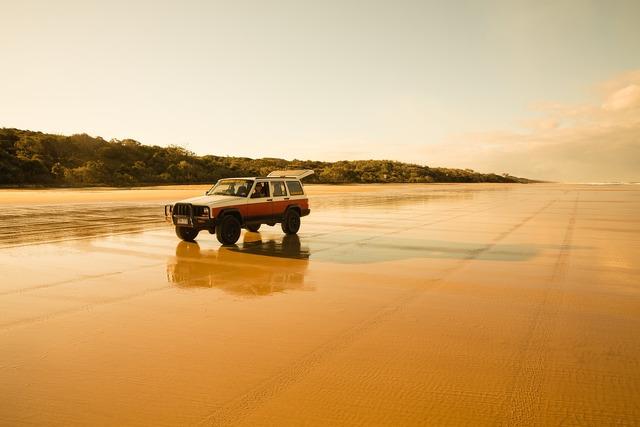 Fraser island beach sand, travel vacation.