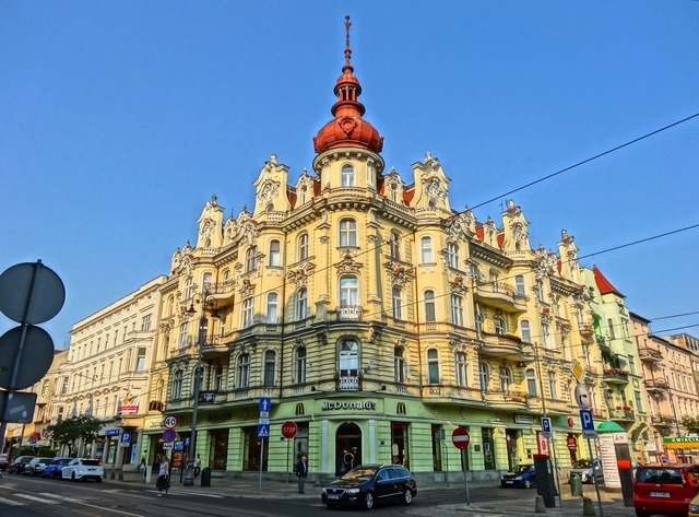 Freedom square bydgoszcz turret, architecture buildings.