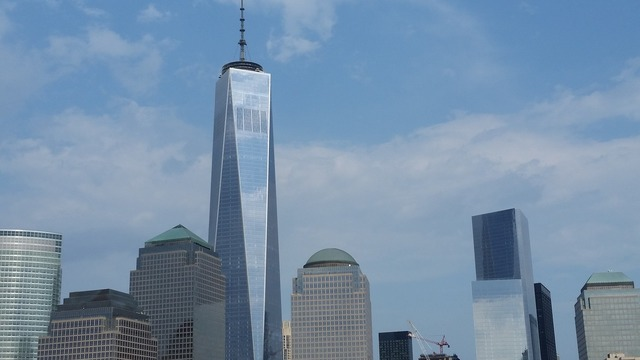 Freedom tower skyscraper new york city skyline, architecture buildings.