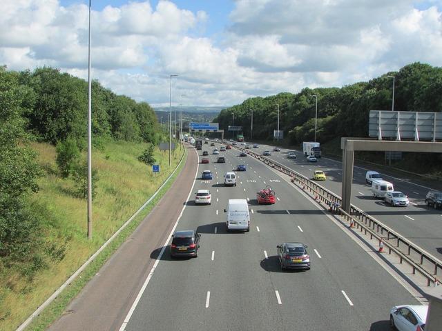 Freeway road england, transportation traffic.