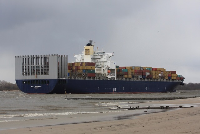 Freighter river container, transportation traffic.