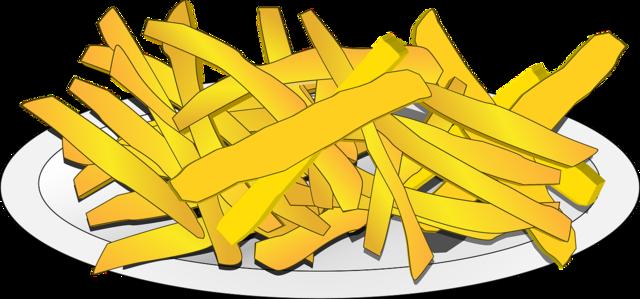 French fries potatos potatoes on plate.