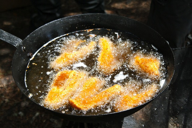 Fried fish walleye shore lunch.