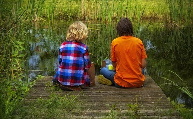 Friends children sit, nature landscapes.