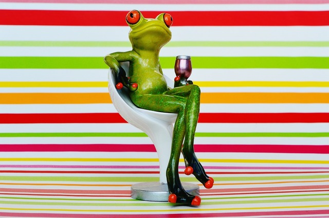 Frog chair cozy, food drink.