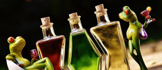 Frogs beverages bottles, food drink.