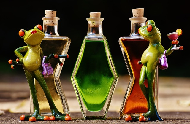 Frogs chicks beverages, food drink.
