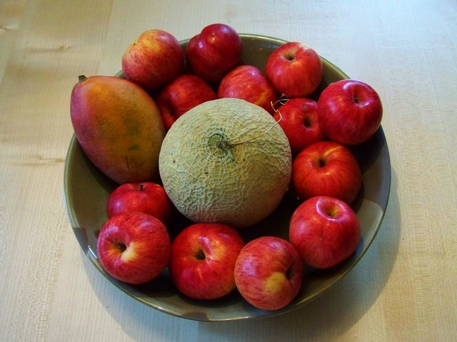 Fruit bowl red apples mixed fruit.
