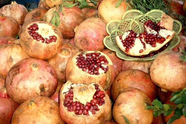 Fruit grenades display, food drink.