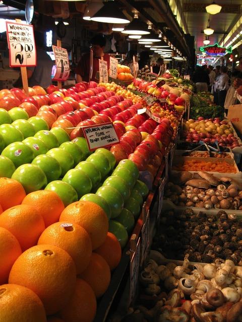 Fruit market fruits, food drink.