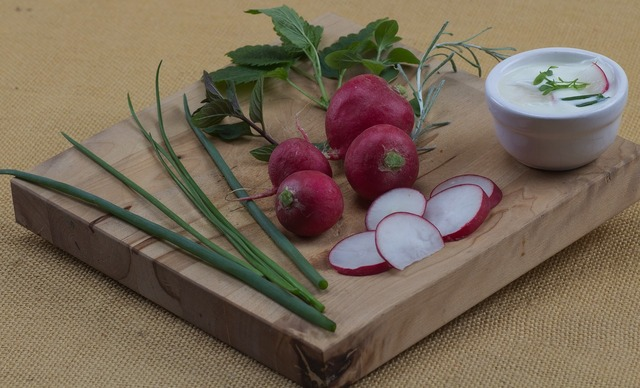 Fruit radishes chives, food drink.