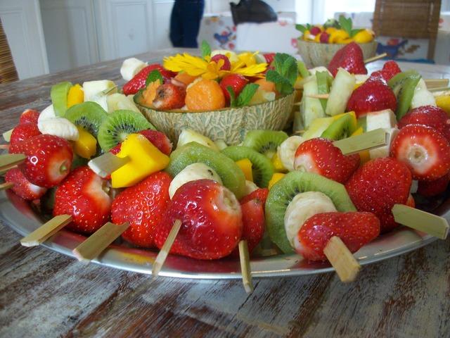 Fruit skewers fruit skewers, food drink.