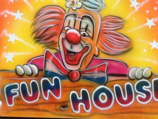 Fun fair clown funfair, emotions.