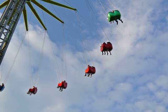 Funfair ride high, travel vacation.