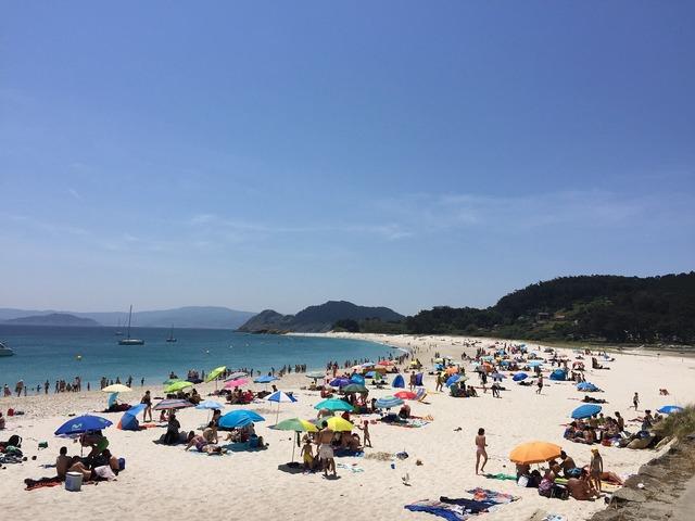 Galicia beach cíes islands, travel vacation.