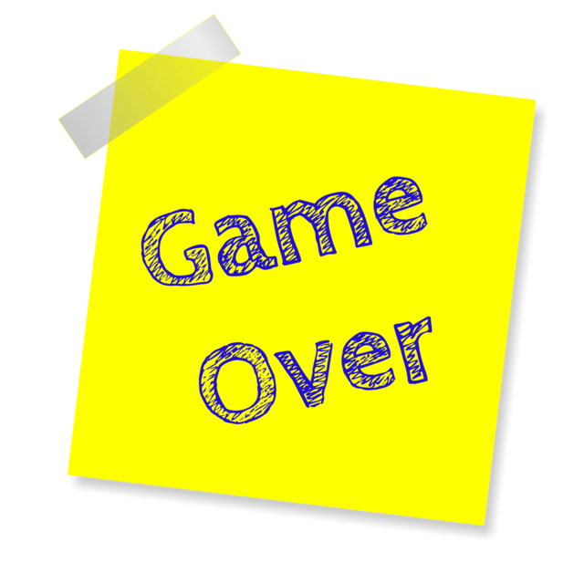 Game over reminder post note sticker.