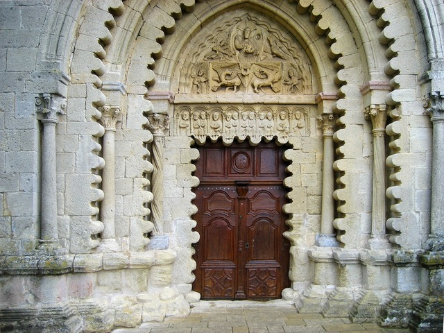Ganagobie abbey portal entrance.