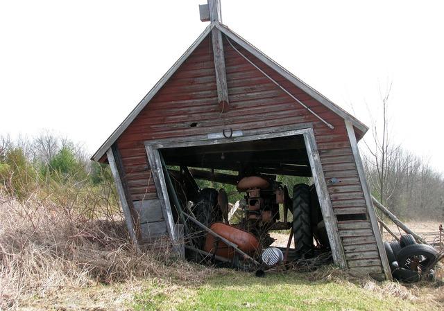 Garage farm tractor.