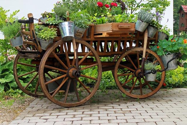 Garden deco cart, nature landscapes.