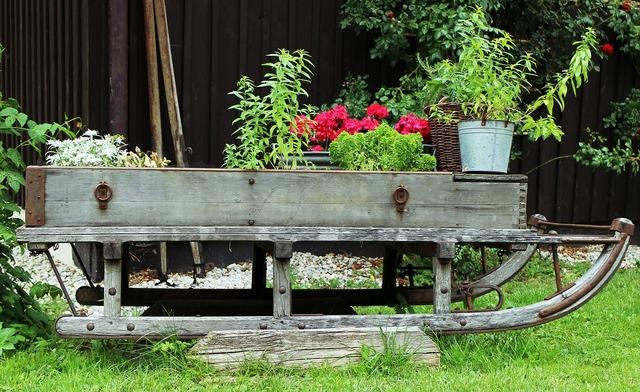 Garden deco slide, nature landscapes.