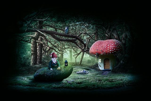 Garden gnome dwarf fabric, nature landscapes.