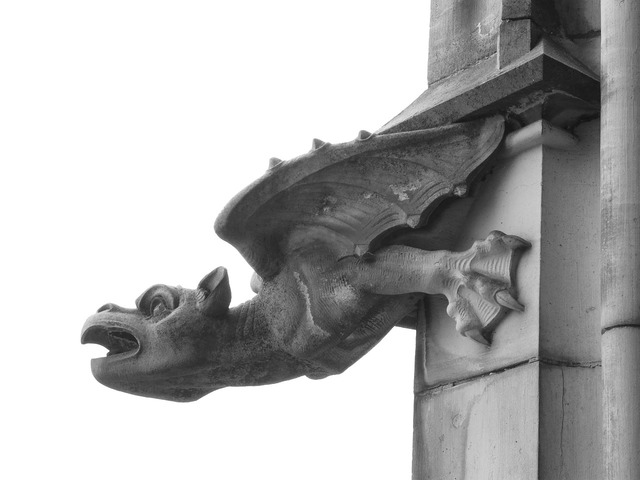 Gargoyle figure dragon, architecture buildings.