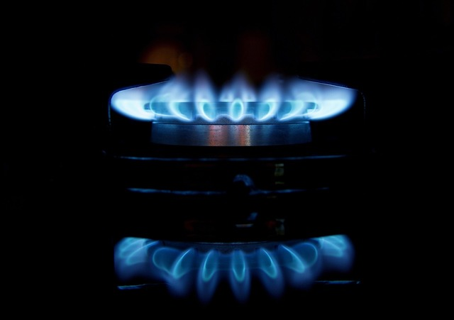 Gas flames stove, food drink.