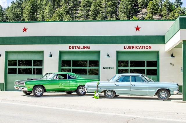 Gas station vintage classic cars, industry craft.