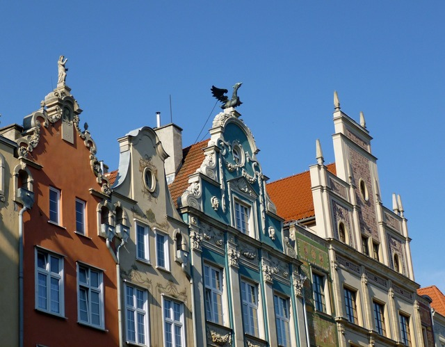 Gdańsk old town cottages, architecture buildings.