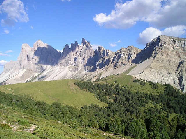 Geisler range mountains dolomites.