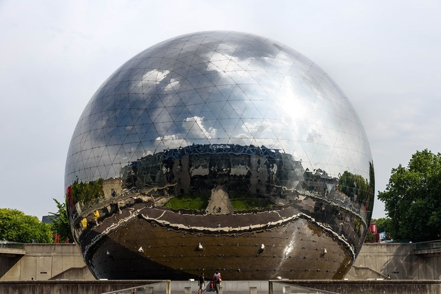 Geodesic dome la géode mirror-finished, architecture buildings.