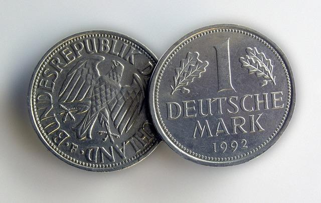 German mark money coins, business finance.