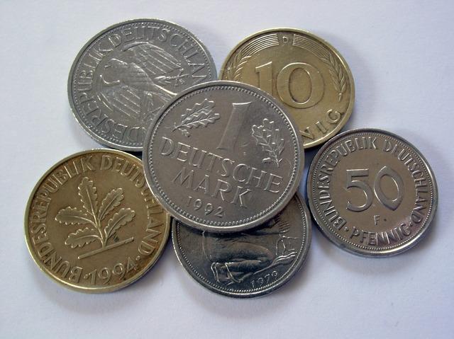 German mark money penny, business finance.