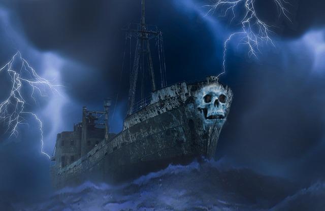 Ghost ship spirit ship horror, travel vacation.