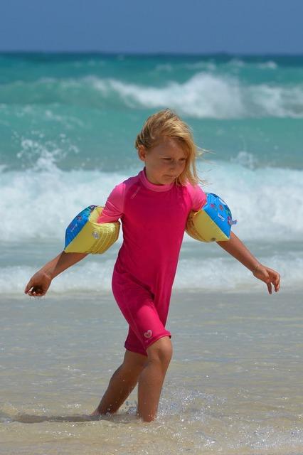 Girl beach sea, people.