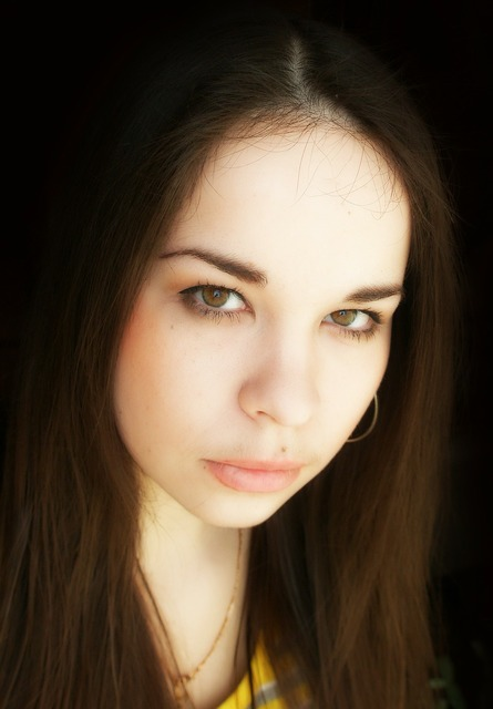 Girl face portrait, people.