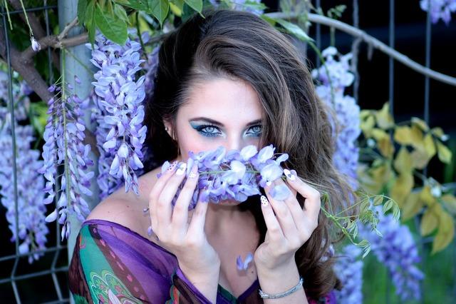 Girl flowers violet, people.