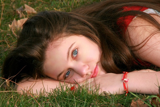 Girl grass blue eyes, people.