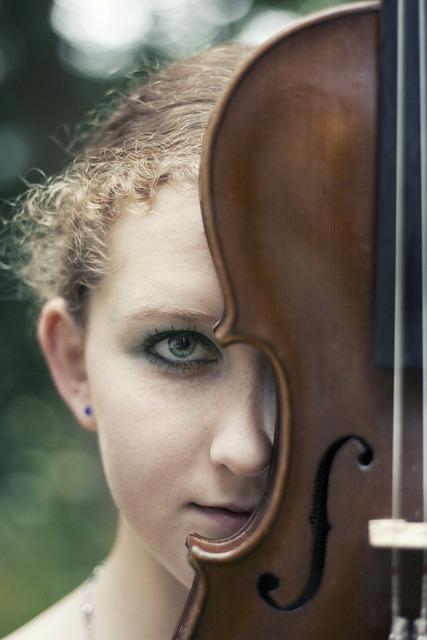 Girl image violin, people.