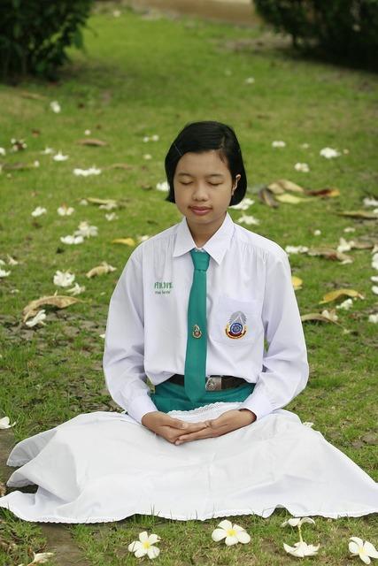 Girl meditate buddhism, people.