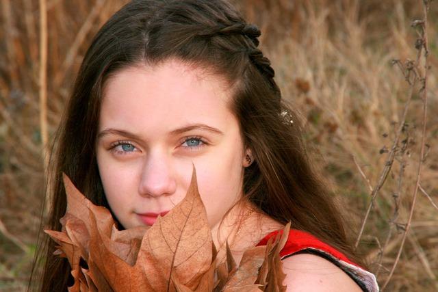 Girl portrait blue eyes, people.