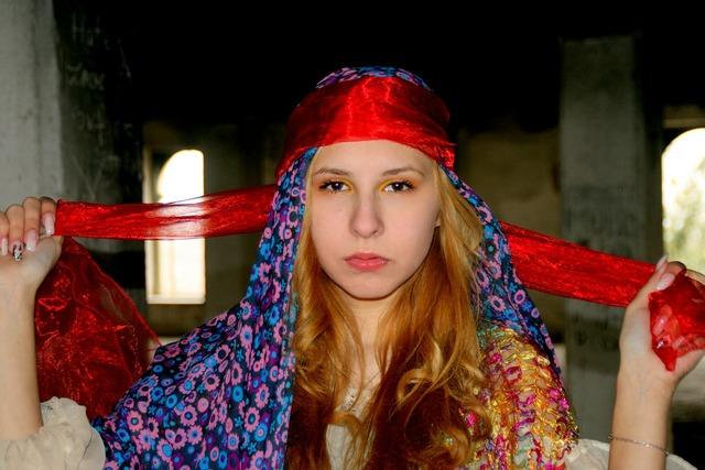 Girl portrait warrior, people.