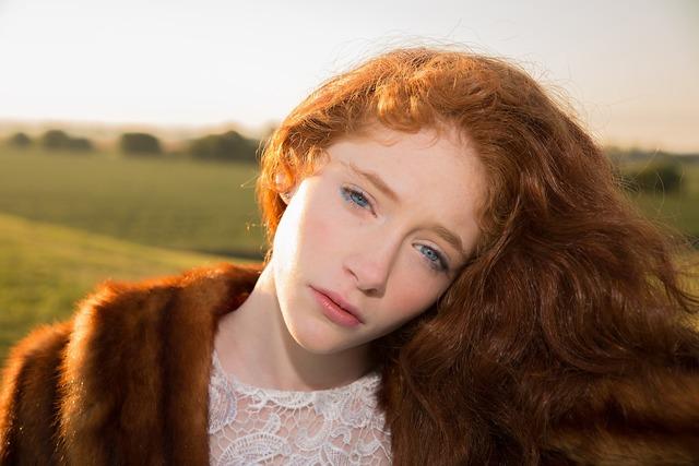 Girl red hair blue eyes, people.