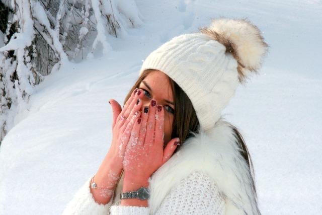 Girl snow hands, people.