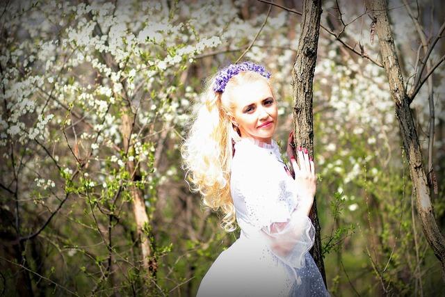 Girl spring flowers, people.