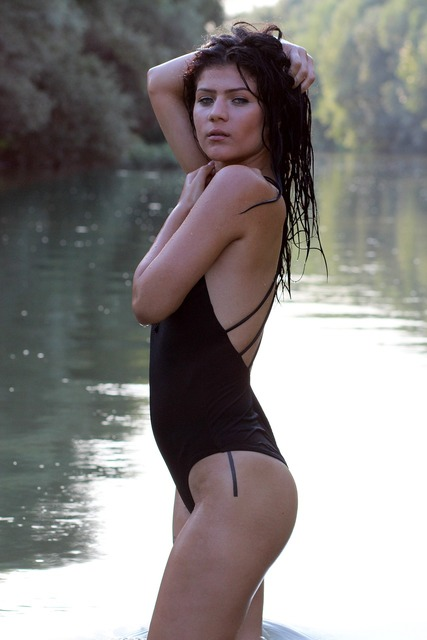 Girl swimsuit water, people.