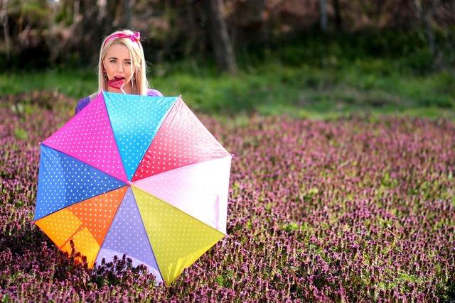 Girl umbrella candy bar, people.
