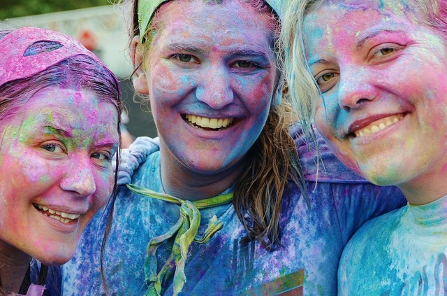 Girls colorful smile, emotions.