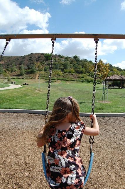 Girls swing park, people.